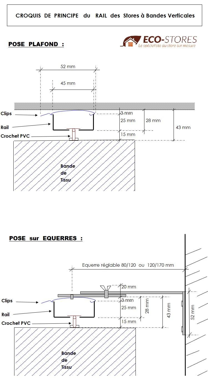 Notice - Croquis descriptif Rail + equerres Store Bandes Verticales Californien Sur mesure - ECO-STORES