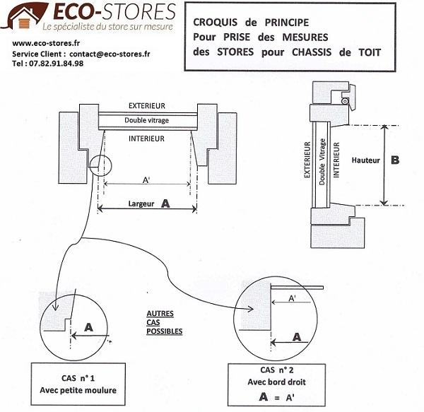 STORE PLISSE sur mesure - prise de mesure - store fenetre de toit sur mesure - eco-stores-fr
