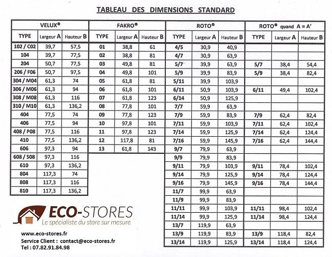Store PLISSE - prise de mesure tableau - store fenetre de toit sur mesure - eco-stores