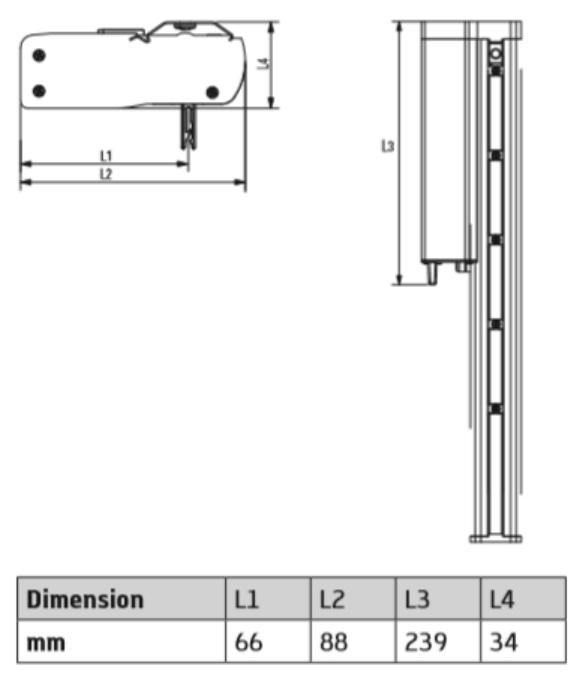 dimensions du rail + moteur pour store californien motorisé eco-stores