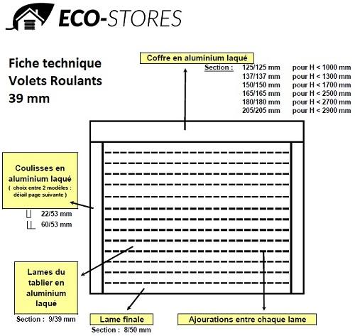 volet roulant 39 mm sur mesure - eco stores